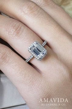 18k White Gold Emerald Cut Double Halo Engagement Ring