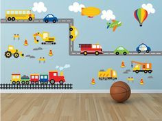 Truck Wall Decal - Construction Wall Decal - Plane Wall Decal-Transportation Wall Decal - Boy Wall Decal-Nursery Wall Decal- Car Wall Decals