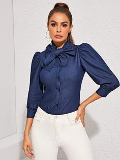 To find out about the Tie Neck Puff Sleeve Denim Shirt at SHEIN, part of our latest Denim Tops ready to shop online today! Denim Top, Denim Shirt, Denim Blouse, Manga, Denim Fabric, Types Of Sleeves, Elegant, Types Of Shirts, Fashion News