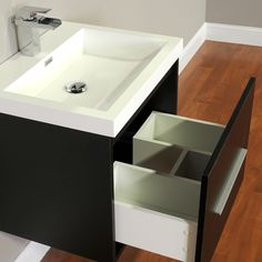 Alya Bath Ripley Collection 24 inch modern wall mounted bathroom vanity is a perfect addition to any bathroom. This modern vanity with sleek and elegant design features a soft-closing drawer for your convenience. The white integrated acrylic sink gives it Small Bathroom Vanities, Bathroom Vanity Cabinets, Single Bathroom Vanity, Modern Bathroom, Master Bathroom, Bathroom Ideas, Resin Countertops, Countertop Materials, Vanity Set With Mirror