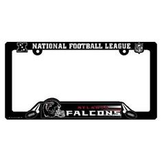 Atlanta Falcons Black Plastic License Plate Frame  https://allstarsportsfan.com/product/atlanta-falcons-black-plastic-license-plate-frame/  Officially licensed License Plate Frame that are usable as a fan decoration on the outside of a standard car license plate, front or back. The frame is molded in durable plastic and is designed around the California standards for tab and sticker clearance. Made in...