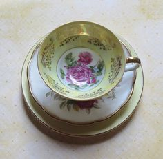 Vintage Bone China Mismatched Teacup and Saucer by MiladyLinden
