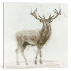 "East Urban Home Stag V.2 Painting Print on Wrapped Canvas Size: 37"" H x 37"" W x 1.5"" D"