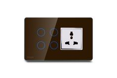 Hogar Controls Designer Smart Touch Switch Panels - z-wave zigbee - 4 touch plus universal socket Brown on Gray silver bazzle front view
