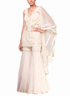 Indian Fashion Designers - Mandira Wirk Lehengas - Chic Ivory Sharara Set