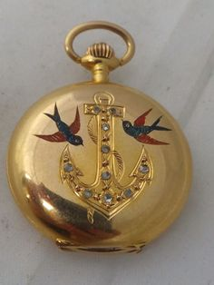 Stunning Victorian Diamond Anchor & Swallow 14ct gold small hunter pocketwatch
