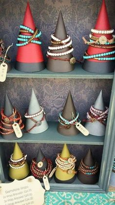 DIY Jewelry Display Cones - Carol Brammer This would be great for the Jan sow, I have lots of cardstock! DIY Bracelet Display C - Craft Fair Displays, Bracelet Displays For Craft Shows, Diy Bracelet Display Stand, Jewellery Storage, Jewelry Organization, Jewellery Box, Jewellery Shops, Jewelry Booth, Necklace Storage