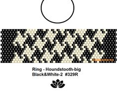 peyote ring pattern,PDF-Download, Ring Houndstooth-big #329R, 2 variants, peyote, beading pattern, beading tutorials, ring pattern