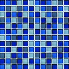 Maybe instead of a red kitchen I'll do blue walls with white cabinetry and this glass tile for the backsplash??