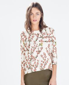 ZARA - WOMAN - ASYMMETRICAL PRINT TOP  - cute material but not sure if the shape would work for me, in fact I know it won't. But I like sleeves too.