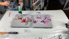 Alcohol Ink Painting, Pour Painting, Diy Painting, Acrylic Pouring Art, Acrylic Painting Techniques, Diy Canvas Art, Canvas Artwork, Cuadros Diy, Bob Ross Paintings