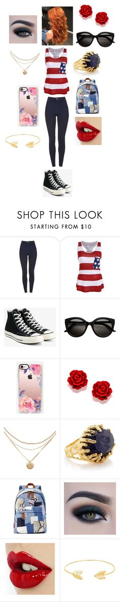 """""""so you're going to school now?"""" by rosemarieyoung ❤ liked on Polyvore featuring Converse, Casetify, Ottoman Hands, Marc Jacobs, Too Faced Cosmetics and Lord & Taylor"""