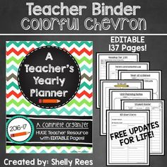 Teacher Binder in a fun lime, teal, and orange Chevron and Chalkboard. Are you looking for an easy way to stay organized and keep your papers, calendars, plans, grade book, forms, etc. all in one easily accessible place? This appealing Chevron and Chalkboard themed Teacher Yearly Planner is a wonderful way to take care of all of this and help you keep track of everything you need!