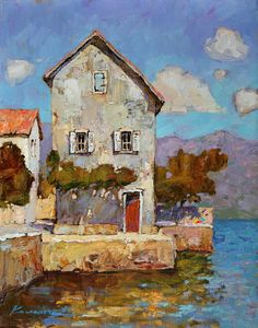 ۩۩ Painting the Town ۩۩ city, town, village house art - Victoria Kalaichi - House at the Sea by Hercio Dias Art And Illustration, Illustrations, Paintings I Love, Beautiful Paintings, Photographie Street Art, Guache, Art Abstrait, Painting Techniques, Painting Inspiration