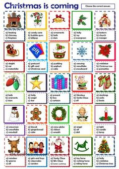 multiple choice activity on Christmas words - ESL worksheets