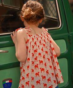 Orange & Red Camel Violette Top in Indian Cotton | Niddle Noddle