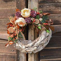 9211fe4f9 Drevený veniec s ružami na Dušičky / Hydrangea - SAShE.sk - Handmade  Dekorácie