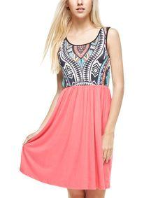 Another great find on #zulily! Coral Arabesque Scoop Neck Dress #zulilyfinds