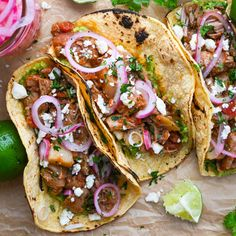 Tinga de puerco is the smoky, meaty filling for Tinga Tacos. Braised Boston butt with chipotle peppers makes these pork shoulder tacos hearty & craveworthy. Pork Recipes, Mexican Food Recipes, Cooking Recipes, Ethnic Recipes, Mexican Dishes, Baked Fish Tacos, Pork Tacos, Braised Pork Shoulder, Pork Shoulder Recipes