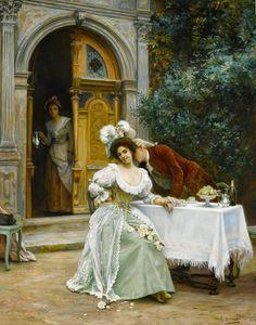 Jules Girardet (French, 1856-1938) A Garden Flirtation oil on canvas 32 X 25 3/4 in.