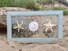 Beautiful sea green framed sun catcher. Done with natural sea glass, starfish and a sand dollar. These sun catchers are best hung in a window, on a solid colored wall or back lit to get the full effect from the light shining thru the beach glass. The design is fused on the glass not