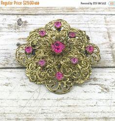 50% OFF Vintage Art Deco Czech Brooch. Dark Pink Rhinestone Filigree Brooch Czechoslovakia. Czech Vintage Jewelry Pink Brooch. Filligree F by TheOldJunkTrunk