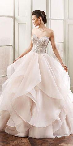 ruffles tulle blush wedding dresses