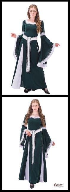 CosplayDiy Women's Dress Renaissance Peasant Dress Victorian Long Sleeve Dress For Party