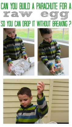 Egg drop science project for kids.