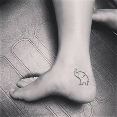 Baby Elephant Line Work Foot Tattoo
