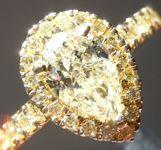 Yellow Diamond Ring: 1.03ct S-T SI2 Pear Shape Diamond Halo Ring GIA R5770