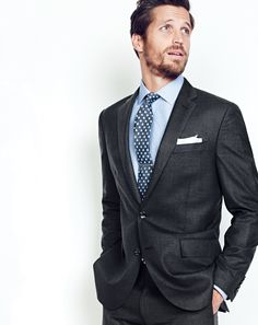 J.Crew men's Crosby suit jacket, Crosby shirt in end-on-end cotton, Crosby suit pant, English silk-linen tie in foulard, brushed tie clip and English linen pocket square.