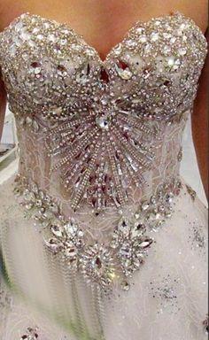 Gorgeous Luxurious Swarovski Crystals Bridal Wedding Dress. #weddings #weddingdress #weddinginspiration