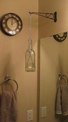 Wine Bottle Chain Lantern: Garden Light/Candle Holder - Clear.  Love these!