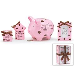 Baby Girl Keepsake Gift Set -- Teach them this early how to save. The sooner they learn, the better for them. This piggybank is just a first step. Comes with picture frame for her.