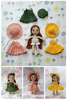 Crochet Toys Barbie Clothes Tiny crochet doll with wardrobe. I had a tiny handmade doll similar to this, and I spent hours playing with it! Crochet Amigurumi, Crochet Doll Pattern, Amigurumi Doll, Amigurumi Patterns, Doll Patterns, Crochet Patterns, Crochet Ideas, Crochet Doll Clothes, Knitted Dolls