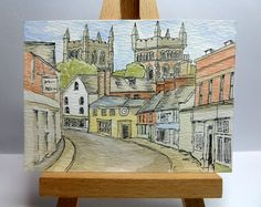 An original ink and watercolour painting of Wimborne Minster, a market town in Dorset, England.  It is ACEO size - 6.4cm x 8.9cm (2.5 x 3.5).  I