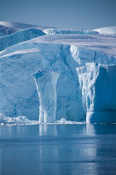 Greenland-- ice, snow and glaciers.