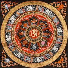Tibetan Buddhist Om, Om Mani Padme Hum and Ashtamangala Mandala, Thangka Tibetan Thangka Painting Mandala Drawing, Mandala Tattoo, Mandala Art, Buddha Kunst, Buddha Art, Om Mani Padme Hum, Tibetan Art, Tibetan Buddhism, Tibetan Sand Mandala