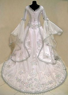 Silvery white medieval style wedding dress