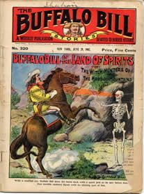 "Buffalo Bill dime novel. This skeleton is shooting lasers FROM ITS EYES.  A display of Buffalo Bill ""Dime Novels"" will be on loan to the Buffalo Bill Cultural Center from the Buffalo Bill Museum & Grave in Golden, Colorado beginning April 13, 2013 through the summer.  Stop in the BBCC at US Hwy 83 and 2nd Street in Oakley, Kansas M-F 9-5 or Sat 11-5 to catch the display.  FREE"