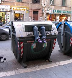 "One of the ""Urban Intervention"" pieces done by street artist Mark Jenkins for his upcoming ""Living Layers"" show in Italy."