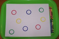 Coloring within each circle with correct crayon color (color recognition, fine motor, pre-writing, grasp) quiet time activity Preschool Colors, Preschool Art, Toddler Preschool, Preschool Activities, Pre Writing, Writing Skills, Activity Games For Kids, Fun Games, Tot Trays