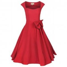 'GRACE' CLASSY VINTAGE 1950's ROCKABILLY STYLE RED BOW SWING PARTY EVENING DRESS
