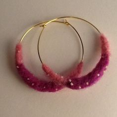 Pink Ensemble Beaded Felt Hoops by TheMagicOfBeads on Etsy, ¥1200