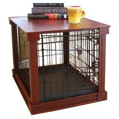 """Side table-style dog crate with a removable tray and divider.   Product: Pet crateConstruction Material: Engineered wood, solid wood veneer, plastic and powder coated steelColor: BrownFeatures:  Removable plastic tray and removable divider in the center of the crateImproves functionality and appearance of pet crates without limiting visibilitySuperior craftsmanship Dimensions: Small: 22.5"""" H x 20.63"""" W 24"""" D Medium: 23.38"""" H x 21.63"""" W x 32.5"""" D Assembly: Easy assembly, no hardware required"""