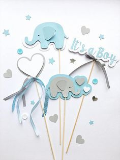 Elephant Centerpieces, Boy Baby Shower Centerpieces, Blue Gray Its a Boy Centerpieces, Baby Boy Shower Table Decorations, Elephant First Birthday, Table Decorations -- Looking for Baby Shower or Baby Boy First Birthday table decorations?! Cute blue gray Elephant Centerpieces makes your