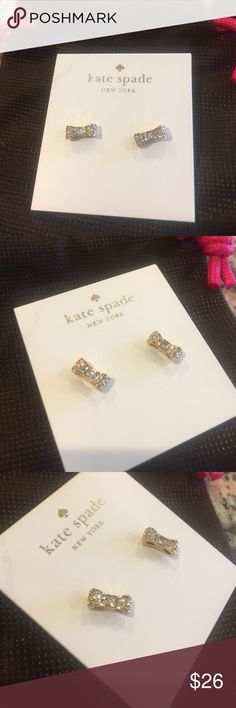 Authentic Kate Spade Ready Set Bow Stud Earrings Authentic Kate Spade Gold Tone Pave Ready Set Bow Stud Earrings, Kate Spade Pouch Included, BRAND NEW WITH TAGS kate spade Jewelry Earrings