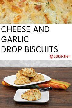 Made with flour, salt, baking powder, cream of tartar, sugar, garlic powder, shortening, milk   CDKitchen.com