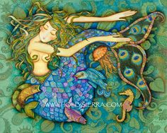 'SIRENE' By Holly Sierra  My Mermaid swims peacefully amongst the creatures of the sea. With just a 'swish' of her gorgeously scaled tail she balances gracefully in the turquoise currents. The emerald and gold strands of her seaweed hair waver 'all about' whilst the two fish beside her carry on an animated conversation about the flowery depths with a seahorse.